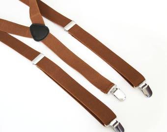 ADULT Light Brown elastic suspenders - Men's suspenders - Adult wedding suspenders