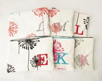 Make up Bag - Set of 7 - Large Dandelion Bags - Cosmetic Bags - Monogram Makeup Bag - Bridesmaid Bags - Zip Wallet - Medium