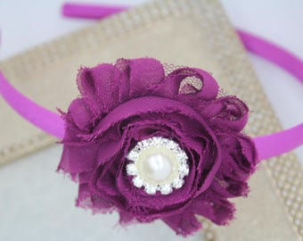 Plum headbands, violet flower girl headband, girls plum headbands, violet toddler headbands, mulberry headbands, plum hair accessories