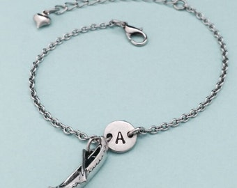 Canoe charm bracelet, canoe charm, adjustable bracelet, boat, personalized bracelet, initial bracelet, monogram