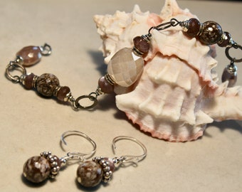SALE Moonstone on sterling silver with jasper bracelet and/or earrings set in brown, taupe and grey
