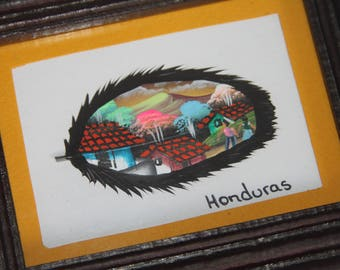 Feather Honduras Village Framed Painting Ready To Hang