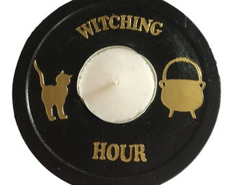 Black & Gold Witching Hour Tealight Holder