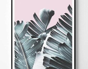 Banana leaf Print, Leaf Photography, Tropical plant photo, Tropical Wall Art, Minimalist Print, Green, Scandinavian Printable Art, Modern