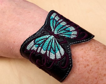 Blue Butterfly embroidered vinyl cuff bracelet