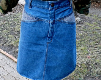Vintage high waisted two tone aline denim jean skirt