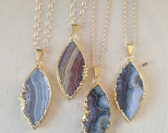 Amethyst Necklace, Raw Amethyst Necklace, Amethyst Slice Necklace, Gold Dipped Amethyst Necklace, Boho Jewelry, Amethyst, You Choose