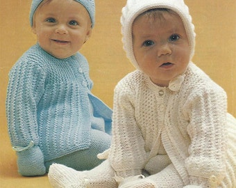 PDF Instant Download   Baby Pretty Pram Set Knitting Pattern 18 to 20 inch Jacket Leggings Bonnet & Hat (26)