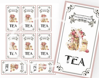Tea Party tags, Tea Party Favors, Digital Tea Tags, Printable Tea Bookmarks. Instant Download, Tea Party  Bridal shower, Party Printable,