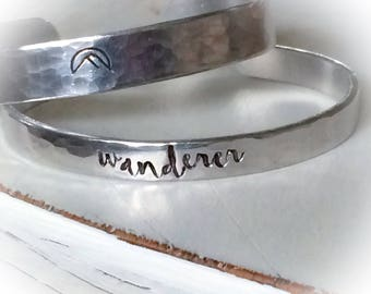 Prone to Wander - wanderer - mountain - hand stamped silver cuff bracelet - Christian Jewelry - faith bracelet