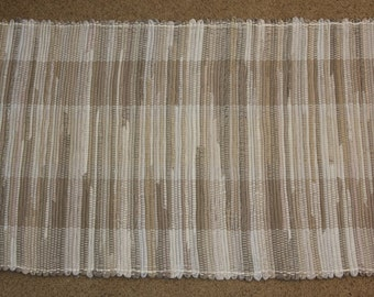 Handwoven Rag Rug - Brown, Khaki & Tan - 46 inches....(#93)