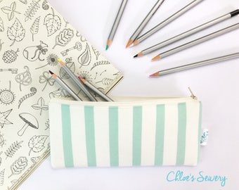 Stripe Pencil Case, Aqua Pencil Pouch, Zipper Pouch, Pencil Holder, Women Bag, School Supplies Bag, Teen Gift, Makeup Bag, Desk Accessories