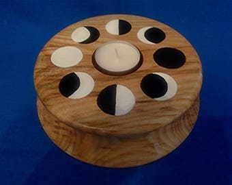 Handmade & Hand-Painted Wooden Tea-Light Holder  *Phases Of The Moon*