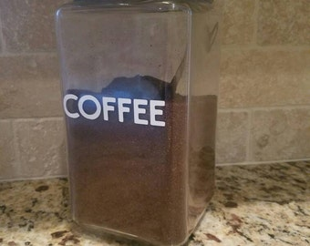 Coffee label vinyl decal / coffee container decal / coffee container label / coffee label