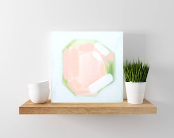 SALE: Pink and Green Abstract Painting - Tiny Painting - Modern Minimal Art - Wood Canvas - Abstract Art