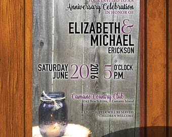 Rustic Anniversary Invitation / Anniversary Invite / Anniversary / Rustic Invitation / Mason Jar / Invitation / Anniversary party