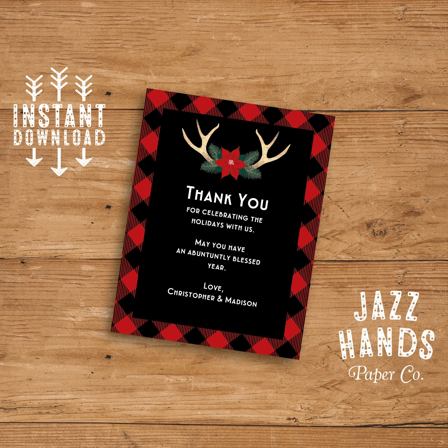 Christmas Party Thank You Card Or Insert Card Template DIY