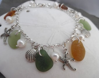 Starfish Autumn Sea Glass Charm Bracelet Shell Pearl Beach Jewelry Sterling 7 8 Inch Amber Green