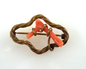 Antique Victorian Branch Coral and Gold Filled Brooch with C Catch