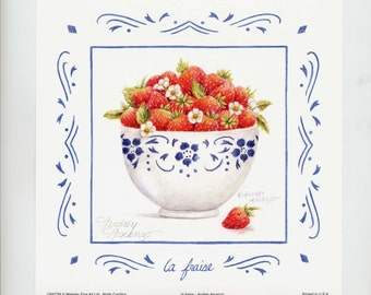 Strawberry Print Fruit Cup La Fraise 7 x 7 Open Edition Signed Art Print by Audrey Ascenzo