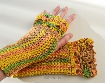 Elegant yellow green crocheted fingerless gloves with lace border, R610