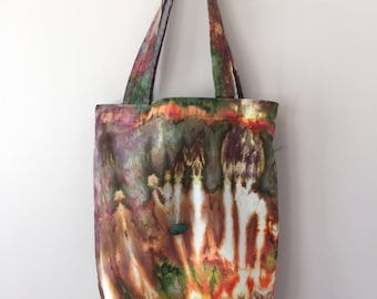 Ice Dyed Tote Bag, Handsewn, Sturdy! #122