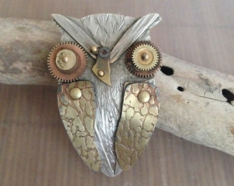 Big Owl Necklace,Whoo Are You, sterling, 14k gold, watch parts, mixed metals,
