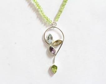 Beaded Peridot Necklace with 925 Sterling Silver Pendant set with amethyst,Blue Topaz, and Citrine Gemstones