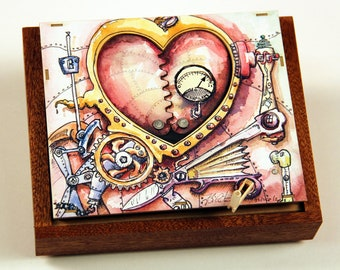 Steampunk Valentine - kinetic sculpture greeting card for lovers, weddings, anniversary, engagement,...