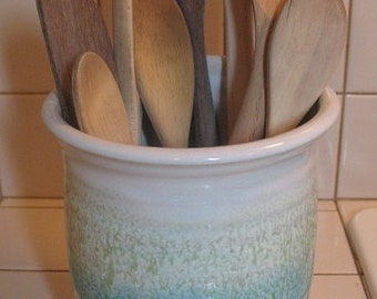Free Shipping Utensil Crock/SPoon Jar in our Sandy Shores Glaze Pattern