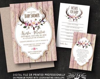 Rustic Baby Shower Invitation SET | Boho Baby Shower Invitation | Printed Invite or Printable Digital File | Deer Baby Girl Invitation Set