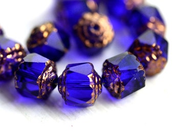 8mm Dark Blue cathedral beads, czech glass golden ends round fire polished ball beads - 15Pc - 1583