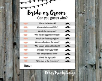 Instant Download, Rustic Bridal Shower Game, Bride or Groom Can You Guess Who, Printable Bridal Shower Games, Rustic PDF