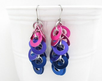 Bi pride earrings, chainmail washer earrings in pink, purple, and blue
