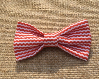 Orange and White Bow Tie Clip On