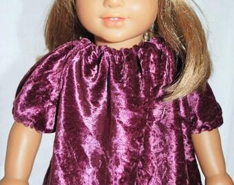 """Doll Shirt Purple Velveteen American GIrl 18"""""""