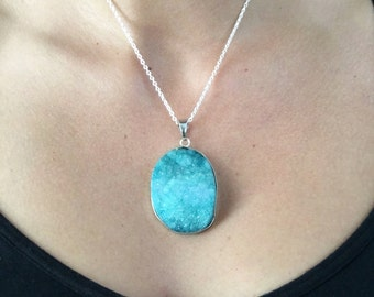 Blue Stone Druzy Necklace | Blue Necklace | Silver Necklace | Stone Necklace | Statement Necklace