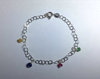 Natural Precious Stones and Sterling Silever Bracelet