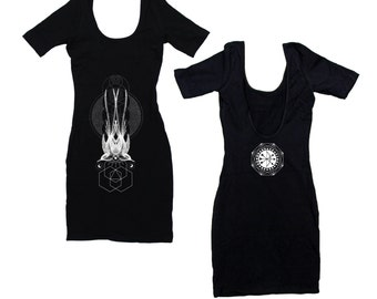 Sparrows Symmetry Black Mini Dress Black Sacred Geometry Dotwork