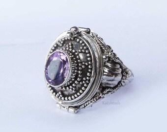 Purple Amethyst Poison Ring Bali Sterling Silver Locket Ring AR03