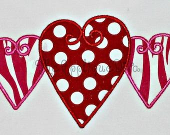 Valentine's Day Three Hearts  Embroidery Design Machine Applique