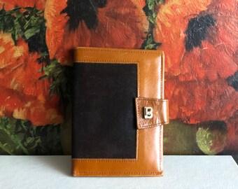 Brown Suede Leather Wallet Billfold Vintage Robert Bestien Card Case