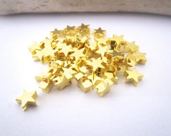 Set of 10 gold stars beads