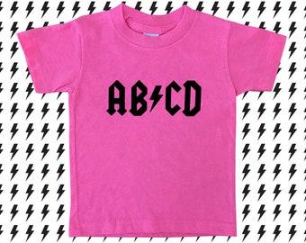 ABCD T-shirt, ACDC, Alphabet Shirt, Rocker Girl, Twins, Rock 'n' Roll Kids, Heavy Metal Kids, ABCD Kids, Rocker Kids, Punk Kids, Cool Twins