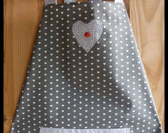 """Apron cooking """"In gray and white"""" with applied and pouch"""