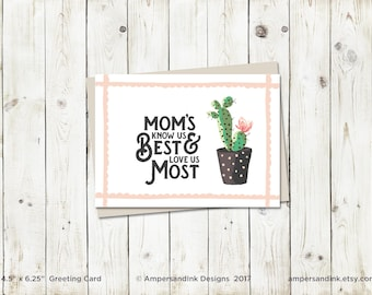 Know Us Best Love Us Most - Mother's Day - Greeting Card with envelope