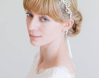 Bridal Headband, Bridal Hair Vine, Silver hair vine,  Floral crown, Bride Hair Accessories, Crystal hair vine, Floral hair vine