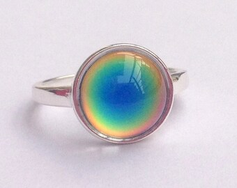 Mood Ring Sterling Silver 925 - 12 mm Quality Mood Stone