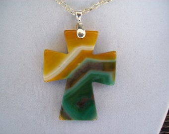 """Yellow and Green Striped Agate Cross Pendant with Chain - 2-1/4"""" long"""