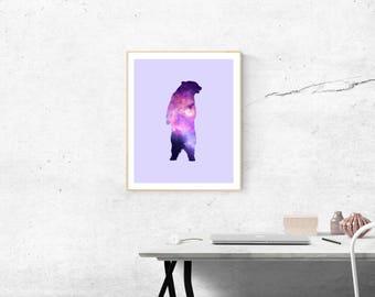 Bear Galaxy Digital Print - Purple